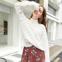 新年特惠2019冬季新款温暖高领镂空菱格纹扭花宽松长袖针织衫毛衣女 本白