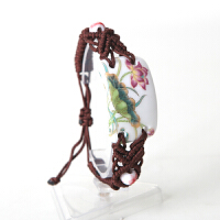 陶瓷首饰手工粉彩桃花 手链 手工饰品 礼品