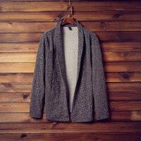 新款男士毛衣翻领开衫大码青年学生韩版针织衫外套潮薄款