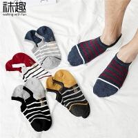 袜子男船袜春夏季薄款男士运动短袜低帮学院浅口棉条纹潮