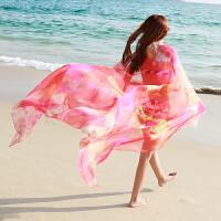 夏季丝巾女长款春秋雪纺披肩围巾两用海边纱巾沙滩巾丝巾