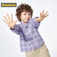 巴拉巴拉童装儿童衬衣男童格子衬衫新款夏装宝宝长袖洋气潮童