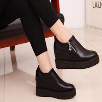 BANGDE黑鞋女内增高一脚蹬女鞋大东单鞋2018新品厚底松糕鞋 黑色