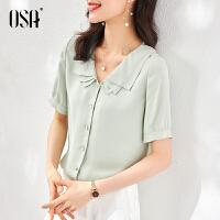 OSA2021新款白色V领雪纺衬衫短袖女夏薄款职业衬衣设计感通勤上衣