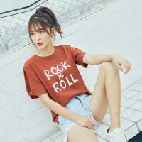 夏季女装新款短袖t恤女宽松学生韩版百搭露肩上衣半袖