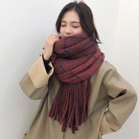 围巾女冬季学生韩版针织毛线格子围脖大流苏百搭加厚保暖两用披肩