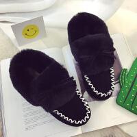 一脚蹬棉鞋学生韩版休闲鞋百搭ulzzang女鞋套脚加绒棉冬季保暖潮 黑色 8K