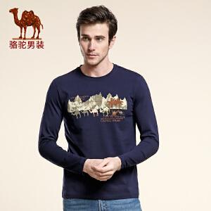 骆驼男装 春款新品青年圆领动物图打底T 日常休闲棉字母T恤男