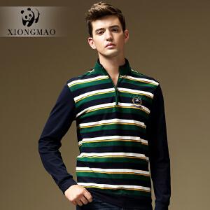 熊猫男装 春新款男士修身棉质长袖T恤 商务休闲T恤