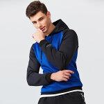 七匹狼T恤 青年男时尚休闲带帽拼接运动卫衣长袖T恤