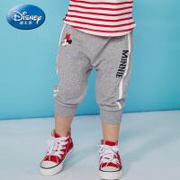 迪士尼童装女童针织潮酷七分裤2019夏装新款儿童裤女宝宝小孩裤子