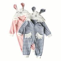 婴儿连体衣春秋幼儿3-6个月外穿哈衣宝宝抱服0-2岁印花条纹爬服