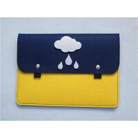 戴尔华硕苹果笔记本电脑内胆包14寸Macair11/12/13/15.6寸毛毡包 藏青色 白云款