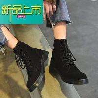 新品上市马丁靴男潮百搭英伦中帮加绒情侣韩版高帮鞋雪地靴子冬季