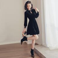 小香风连衣裙女2019初秋新款黑色egg山本风裙子金丝绒短款小黑裙