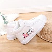 冬季加绒小白鞋女学生韩版休闲百搭平底板鞋高帮帆布鞋保暖棉鞋子