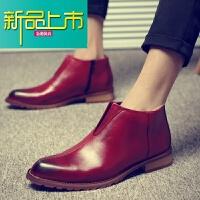 新品上市新款男靴子短靴英伦马丁靴男士尖头皮靴时尚潮流高帮皮鞋男韩版