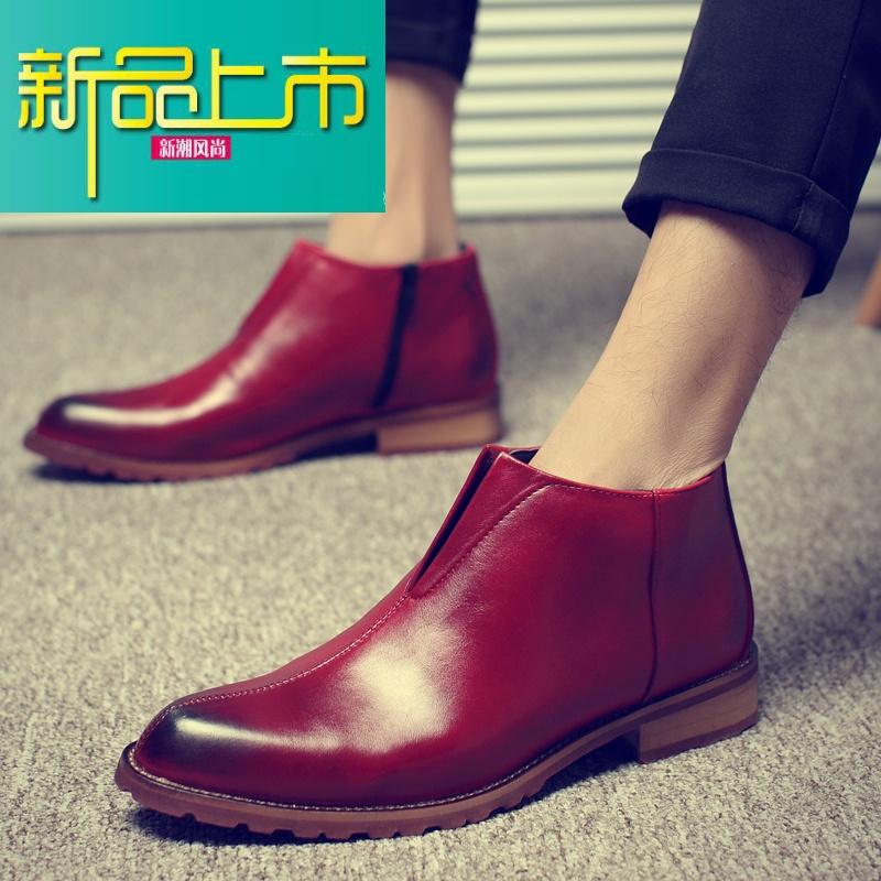 新品上市新款男靴子短靴英伦马丁靴男士尖头皮靴时尚潮流高帮皮鞋男韩版   新品上市,1件9.5折,2件9折