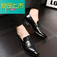 新品上市韩版男士潮流尖头皮鞋英伦青年型师男鞋休闲一脚蹬懒人时尚潮鞋