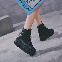 2019新款新款韩版真皮厚底单鞋内增高8厘米高帮女鞋系带松糕平底鞋女