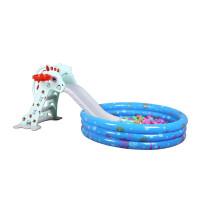 多功能小型折叠上下滑梯儿童室内塑料滑滑梯宝宝滑梯加长家用玩具 斑点马165CM+底座+音乐+球池套餐 (蓝)