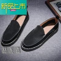 新品上市低帮皮鞋男士套脚懒人鞋韩国手工鞋秋冬季男鞋套脚真皮休闲鞋