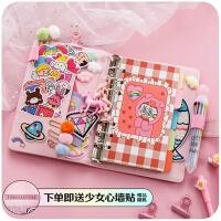 少女心手账本手帐方格活页小日式创意可爱韩国笔记本子款网红套装