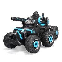 儿童电动遥控汽车可射水遥控对战坦克越野遥控车装甲战车男孩玩具 六轮极地战车 黑蓝色(射水) 标配