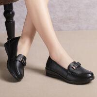 舒适真皮妈妈鞋单鞋软底中老年女鞋平底休闲中年老鞋女奶奶鞋
