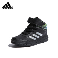 阿迪达斯(adidas)童鞋男女中大童休闲板鞋防滑高帮儿童运动鞋AP9934 黑色