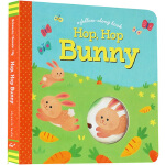 英文原版绘本0 3岁 洞洞书 Hop Hop Bunny 小兔子拉绳纸偶游戏操作书 启蒙故事纸板 创意互动 Chron