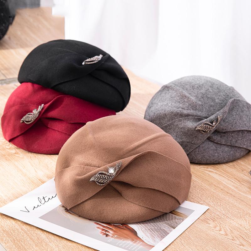 帽子女士秋冬季英伦百搭羊毛呢贝雷帽优雅复古名媛冬天小礼帽