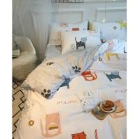 全棉简约小猫咪四件套1.5全棉床单被套床上用品儿童三件套可爱1.2定制 床笠款套件 预定