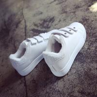 魔术贴女鞋百搭小白鞋加绒棉休闲鞋冬季韩版运动鞋女学生板鞋保暖 白色 105-2K