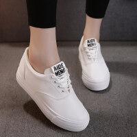 春款韩版小白鞋松糕帆布鞋女平跟厚底内增高学生韩版运动鞋女
