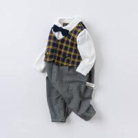 戴维贝拉连体衣婴儿衣服外出哈衣男宝宝秋装小绅士洋气爬服假两件