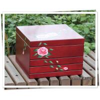 欧式公主首饰收纳盒木质化妆盒结婚生日礼物 大容量首饰盒木质首饰盒欧式首饰盒珠宝盒