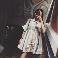 新年特惠2019春夏季新款女装高腰宽松雪纺娃娃a字条纹衬衫连衣裙女中长款 如图色