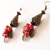 陶瓷饰品 手工民族风 陶瓷耳环 瓷珠 原创耳环 蓝色清新