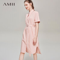 【开学季 预估券后价:151元】Amii极简法式小清新少女连衣裙2019夏季新款宽松配腰带全棉衬衫裙
