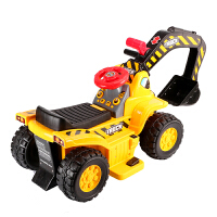 挖机玩具车可坐人 儿童电动挖掘机可坐可骑挖土机大号工程车大型男孩玩具铲车可坐人 铲车-电动音乐款 黄色 官方标配