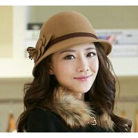 羊毛毡帽    时尚复古帽子女   韩版潮毛呢帽   时尚复古英伦圆顶礼帽