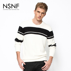 NSNF时尚简约条纹撞色圆领白色男士毛衫 2017秋冬新款