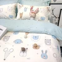 卡通简约儿童单人床三件套1.2米床上用品棉被套床笠四件套y