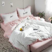 全棉简约床上用品4件套 纯色流苏花边被套刺绣 水洗棉四件套定制 2.0m(6.6英尺)床 床笠式