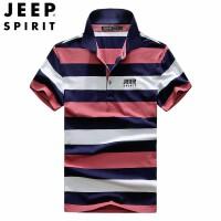 JEEP吉普2019夏季新品短袖T恤 男翻领条纹时尚夏装POLO衫 透气时尚男装翻领体恤衫
