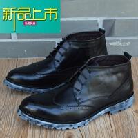 新品上市新款马丁靴男英伦尖头高帮皮鞋男雕花男鞋韩版真皮短靴