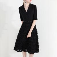 2019新款黑色小晚礼服裙女时尚新款冬宴会洋装名媛酒会派对连衣裙气质