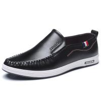 男士休闲皮鞋一脚蹬单鞋 豆豆鞋男驾车鞋 黑色 38