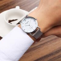沃力仕新款欧美个性小秒盘防水手表 时尚超薄钢带石英手表简约商务男表